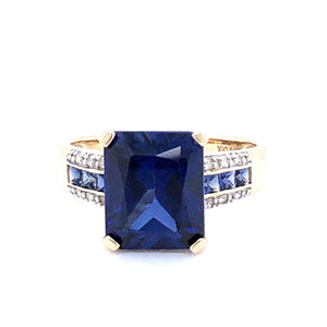 9ct Gold Created Sapphire & CZ Rectangular Ring