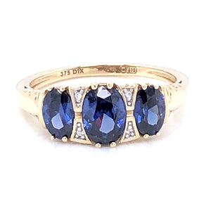 9ct Gold Created Sapphire & CZ Victorian Style Ring