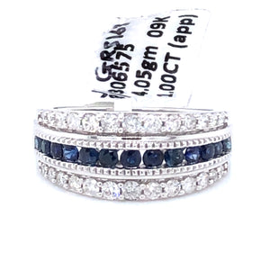 9ct White Gold Sapphire & Diamond Three Row Ring