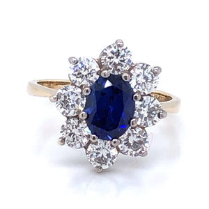 9ct  Gold Sapphire & CZ Star Cluster Ring