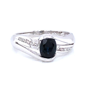 9ct White Gold Sapphire & Diamond Twist Ring