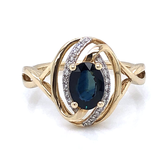 9ct Gold Sapphire & Diamond Oval Swirl Ring