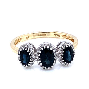 9ct Gold Sapphire & Diamond Triple Cluster Ring