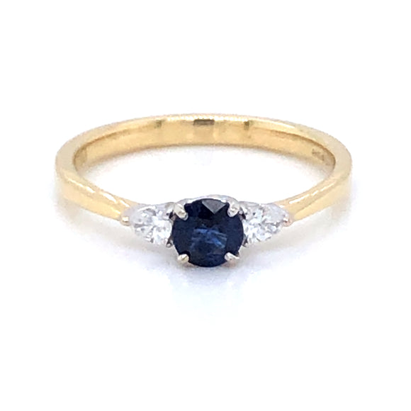 18ct Gold  Sapphire & Diamond Pear Ring