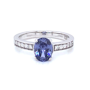 9ct White Gold Sapphire & Pavé CZ Ring