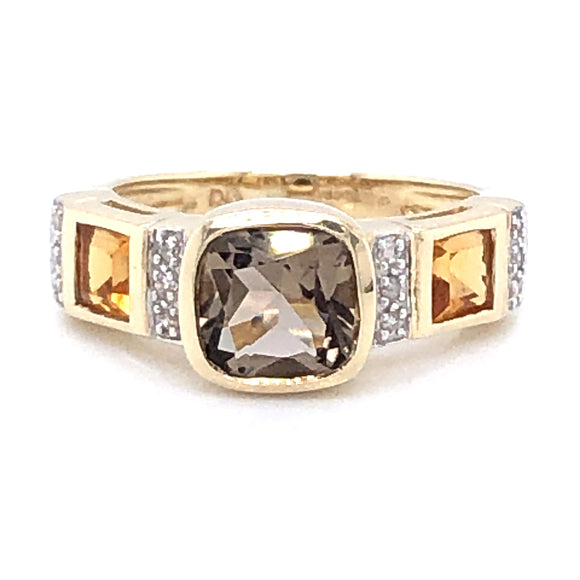 9ct Gold Smokey Quartz, Citrine & Diamond Ring