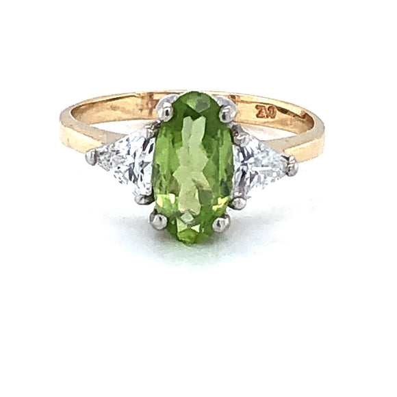 9ct Gold Oblong Peridot & CZ  Ring