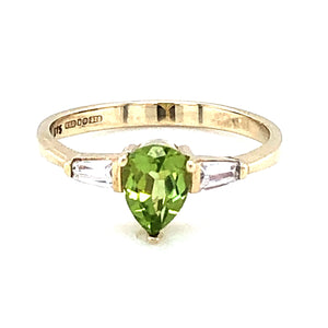 9ct Gold Peridot Pear & CZ  Ring