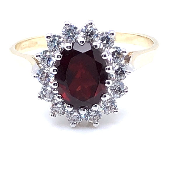 9ct  Gold Garnet & CZ Cluster Ring