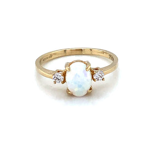 9ct  Gold  Created Opal & CZ Trilogy Ring