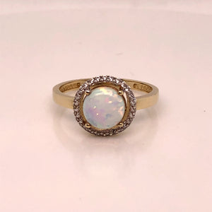 9ct  Gold  Created Opal & CZ Halo Ring