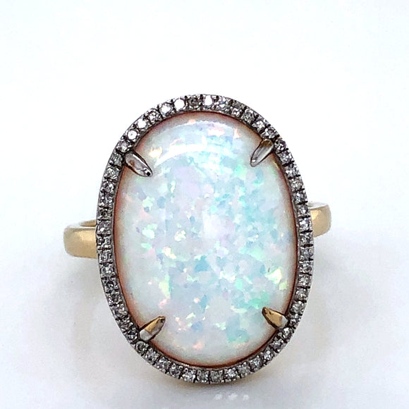 9ct  Gold  Created Opal & CZ Diamond Oval Halo Ring