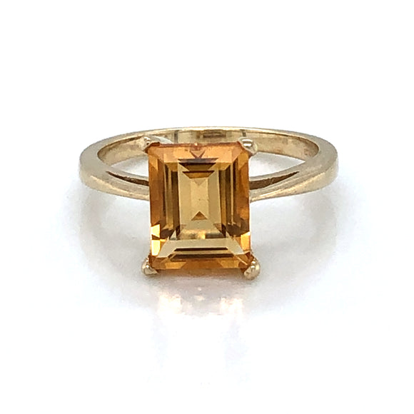 9ct Gold Golden Citrine Rectangular Ring