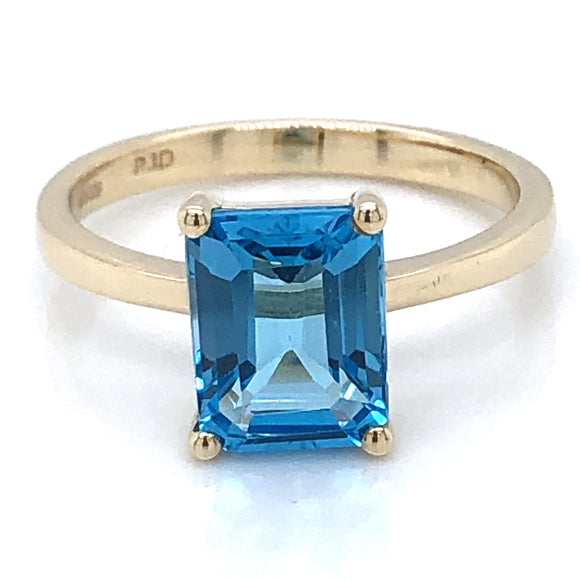 9ct Gold London Blue Topaz Rectangular Ring