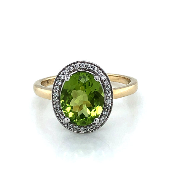 9ct Gold Peridot & Diamond Vintage Cluster  Ring
