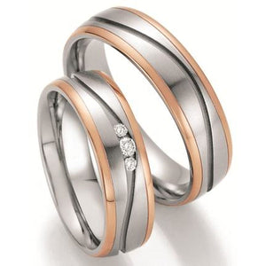 Steel Wedding Ring with 14K Rose Gold Stripes