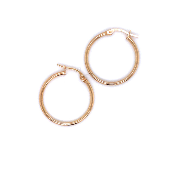 9ct Gold Medium Skinny Hoop Earrings