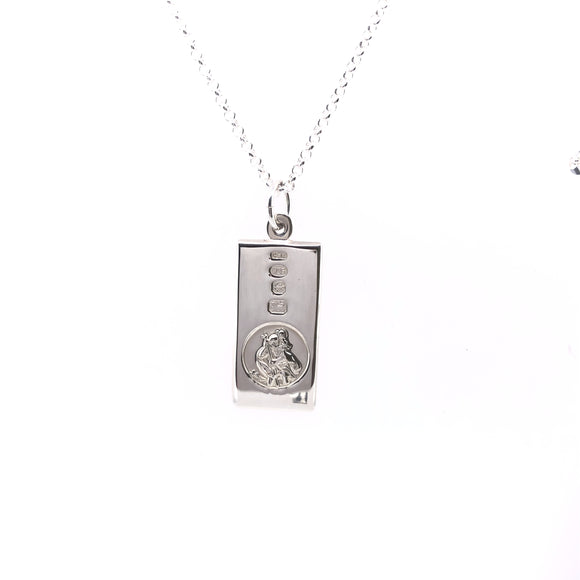 Sterling Silver Rectangular St. Christopher Medal