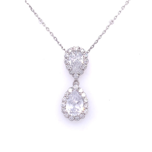 Sterling Silver CZ Double Teardrop Halo Pendant