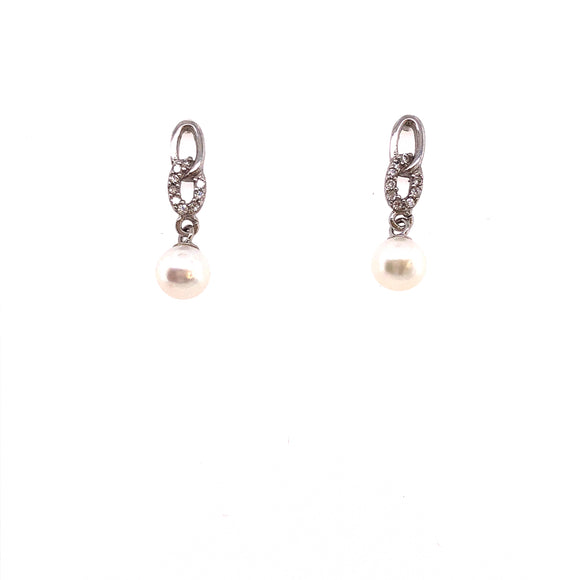 Silver Pearl  & CZ Drop Earrings