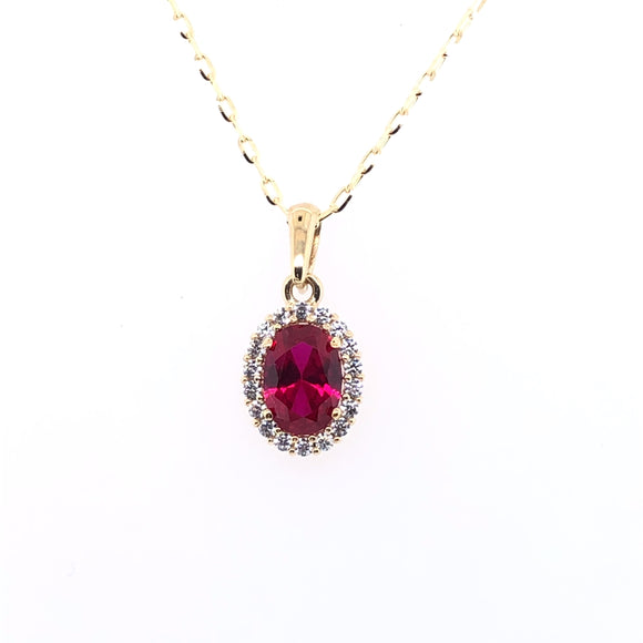 9ct Gold Ruby & CZ  Oval Halo Pendant