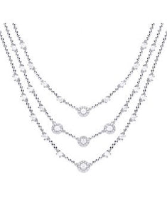 Diamonfire Zirconia Multi-strand Cocktail Necklace N4252