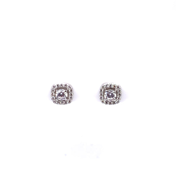 Sterling Silver CZ 8mm Cushion Halo Stud Earrings