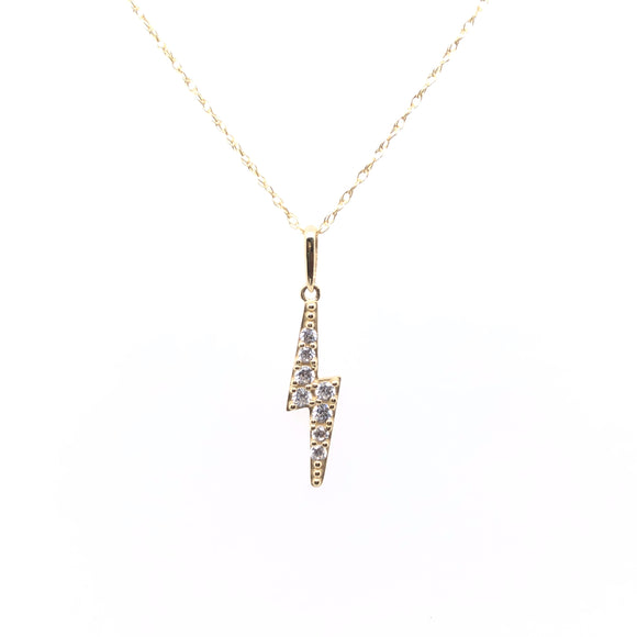 9ct Gold CZ Lightening Bolt Pendant