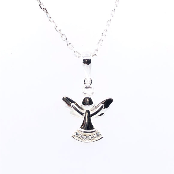 Sterling Silver Cute CZ Angel Pendant