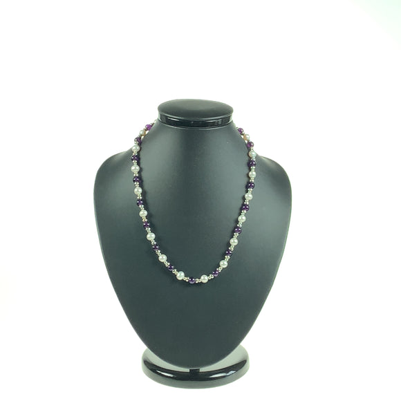 Amethyst, Silver & Freshwater Cultured Pearl Necklace