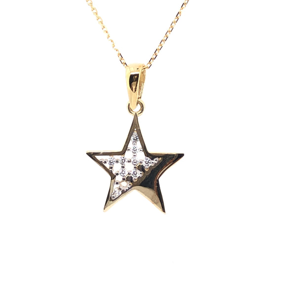 9ct Gold Sparkly CZ Star Pendant