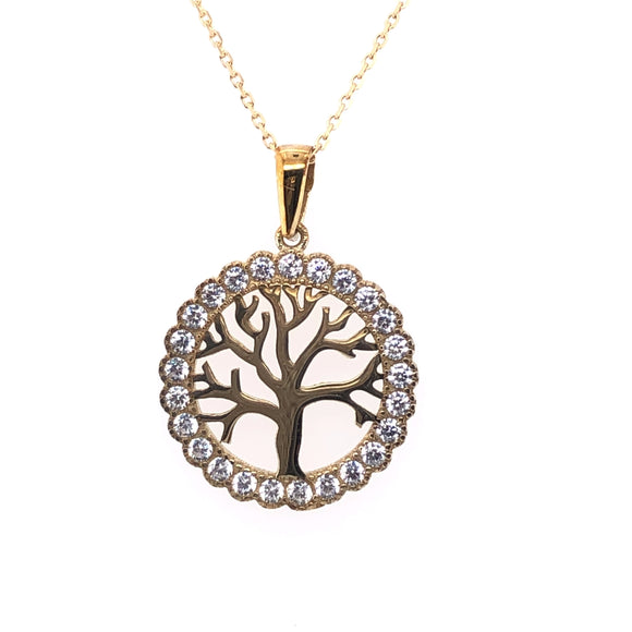 9ct Gold Tree of Life CZ Circle Pendant