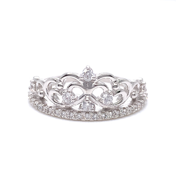 Sterling Silver CZ Princess Tiara Ring