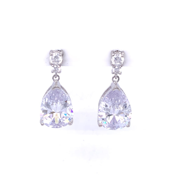 Sterling Silver CZ Teardrop Earrings