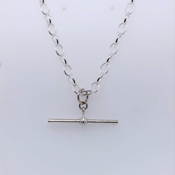Sterling Silver Oval Belcher T-Bar Chain