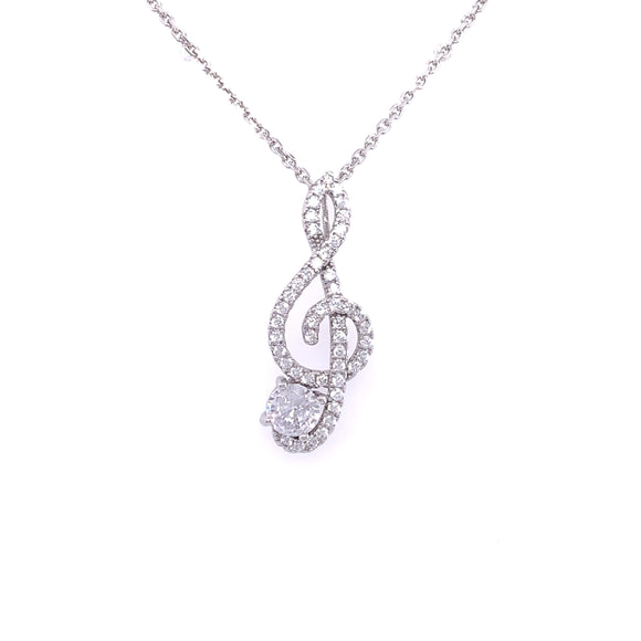 Sterling Silver CZ Treble Clef Music Pendant