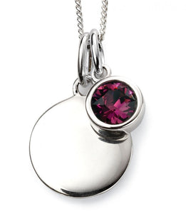 Baumann Sterling Silver Engravable Birthstone Pendant February