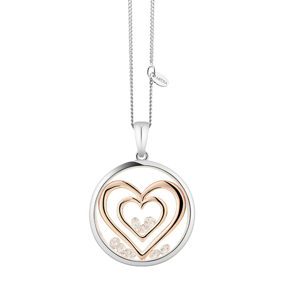 ASTRA Sterling Silver Double Heart Pendant