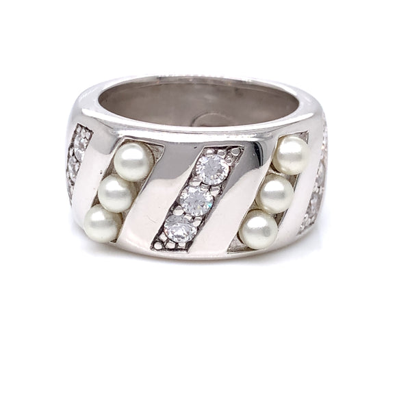 Paul Costelloe Sterling Silver Pearl CZ Band Ring