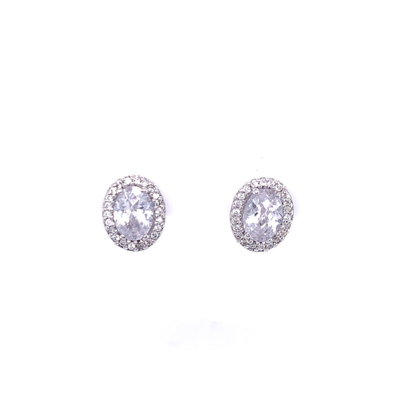 Paul Costelloe Silver CZ Oval Cluster Earrings