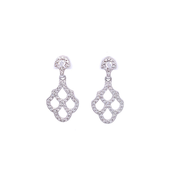Paul Costelloe Silver CZ Fan Drop Earrings