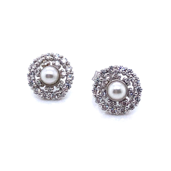 Paul Costelloe Silver Pearl & CZ Cluster Earrings