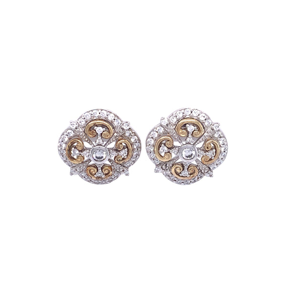 Paul Costelloe Silver Gold tone CZ Earrings