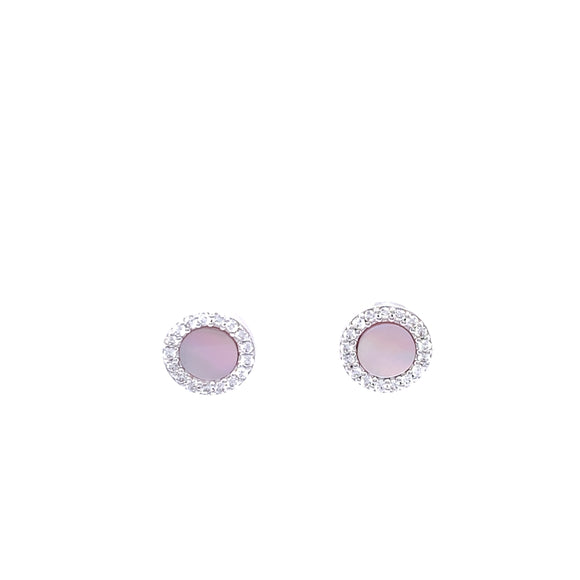 Paul Costelloe Silver Mother of Pearl CZ Earrings