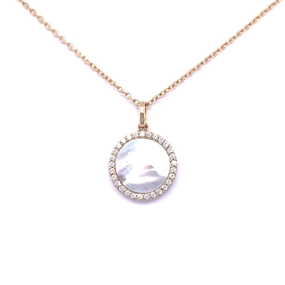 Paul Costelloe Silver Gold tone Mother of Pearl CZ Pendant