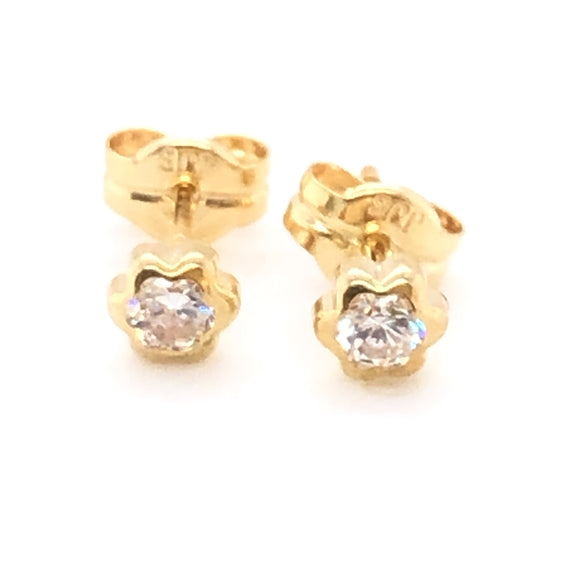 9ct Gold Cute CZ Flower Earrings