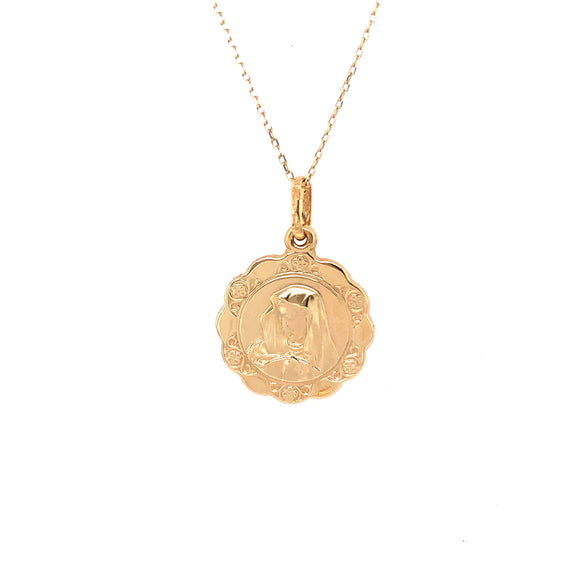 9ct Yellow Gold medium Madonna Medal & Chain