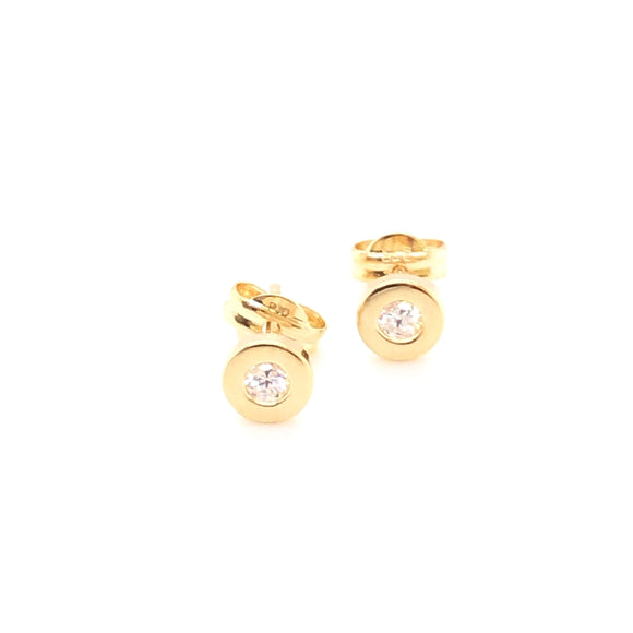 9ct Gold CZ Rubover Stud Earrings