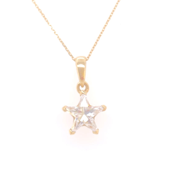 9ct Gold CZ Star Pendant