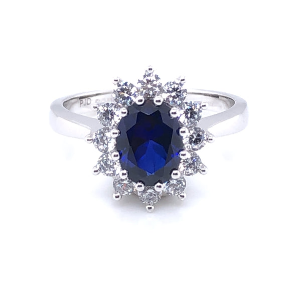 9ct  White Gold Created Sapphire & CZ Cluster Ring
